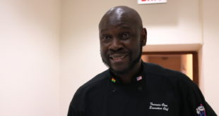 Chef Francis Otoo serving special jollof at Embassy Chef Challenge 2019